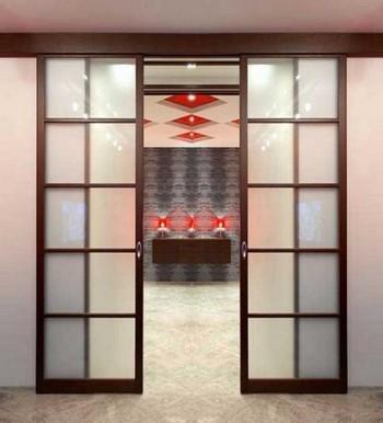 Двойная стеклянная раздвижная дверь