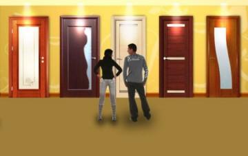 Пара выбирает двери