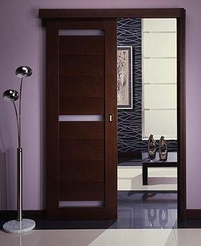 Раздвижная дверь с горизонатльной стеклянной вставкой