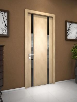 Светлая дверь с темными вставками