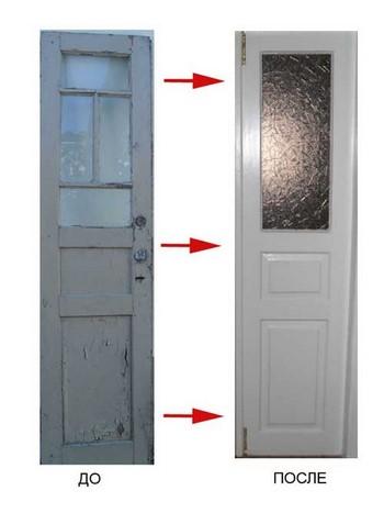 Дверь до и после реставрации
