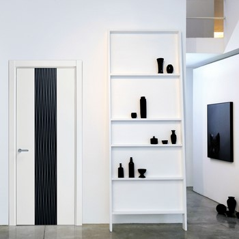Белая дверь с черной вставкой
