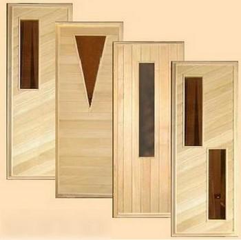 Четыре двери для бани со стеклянными вставками
