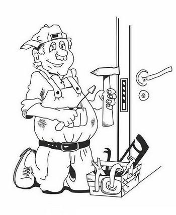 Рисунок мужчина ремонтирует замок в двери
