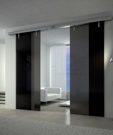 Стильные стеклянные раздвижные двери