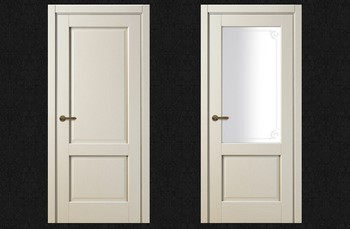 Две белые двери со стеклом и без