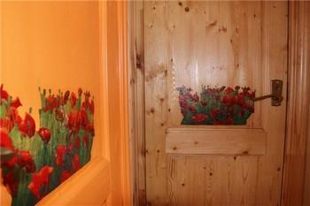 Нарисованные цветы на двери