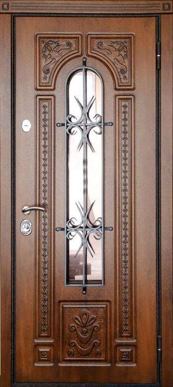Входная дверь со стеклом и рисунком