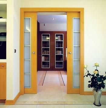 Желтые двойные раздвижные двери