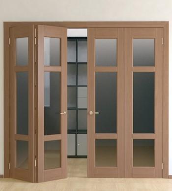 Двойная дверь-книжка со стеклом