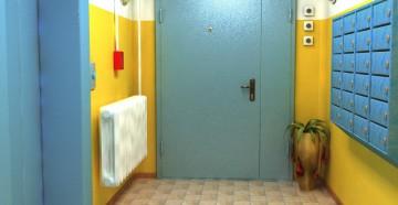 Металлическая голубая тамбурная дверь