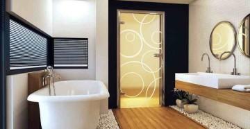 Стеклянная матовая дверь в ванной