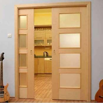 Двойные раздвижные двери с пеналом