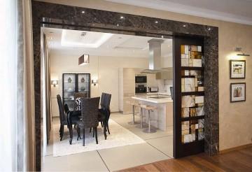 Очень красивые раздвижные двери на кухню