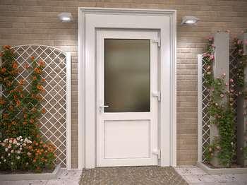 Пластиковая входная дверь со стеклом