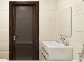 Темная дверь в ванную со стеклом