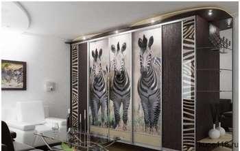 Шкаф купе в гостинной с зебрами