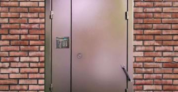 Дверь в подъезд с домофоном и пружиной