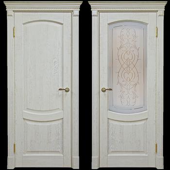 Двери с коробкой беленый дуб