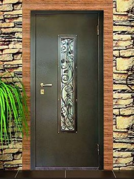 Металлические двери со стеклом и ковкой