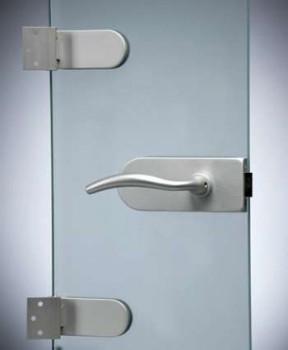 Петли и ручка на стеклянной двери