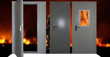 Противопожарные двери на фоне огня