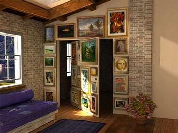 Стена с картинами - потайная дверь