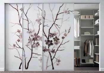Стеклянные двери в гардероб в китайском стиле
