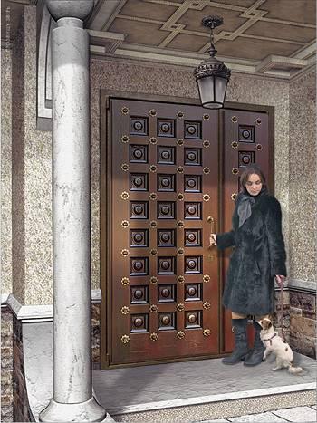 Девушка с собакой около двери