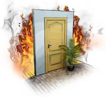 Картинка огонь за дверью
