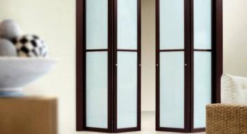 Складные двери с матовым стеклом
