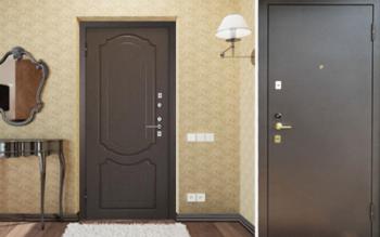 Входная дверь со стороны комнаты и снаружи